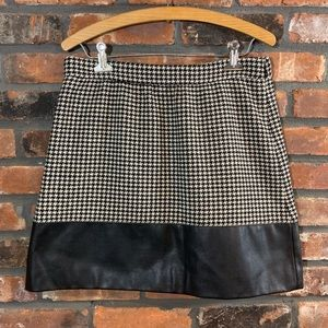 J. Crew Houndstooth Wool Skirt Faux Leather Trim